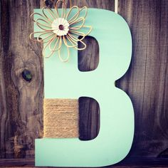 13 inch Wooden letter wrapped with twine and by MyCraftyMommee, $12.50