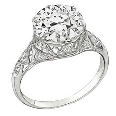 3.61 Carat GIA Cert Diamond Platinum Engagement Ring | From a unique collection of vintage engagement rings at https://www.1stdibs.com/jewelry/rings/engagement-rings/