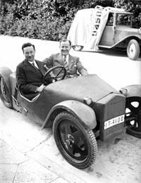 """Josef Ganz, an innovative engineer and renegade journalist from Frankfurt, who sat at the wheel of his prototype small car, which he described as a """"Volkswagen"""" (""""people's car""""), as early as 1931. Schilperood believes Ganz was deliberately erased from history by the Nazis because he was Jewish. """"It gripped me, the idea that a Jew could be behind the most long-lasting thing the Nazis ever did. But is no exaggeration to say that the VW Beetle would not have existed without Josef Ganz."""