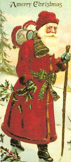 Red St. Nicholas with holly in his hand and a pine tree in the background.