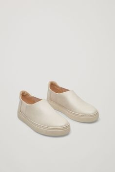 COS Slip-on leather sneakers in Beige