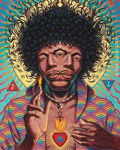 Jimi Hendrix art by Rick Jacobi Arte Dope, Dope Art, Psychedelic Art, Jimi Hendrix, Dope Kunst, Acid Art, Psy Art, Kunst Poster, Hippie Art
