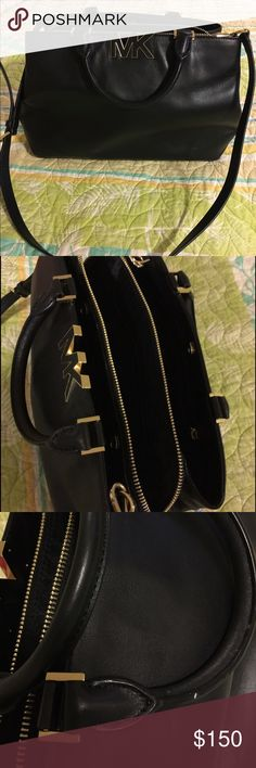 Michael Kors Satchel/Shoulder Bag Beautiful Michael Kors bag- multiple pockets and middle zip compartment.  Gold hardware. Gently used, with embellishment on handle - see pic 3. Detachable strap. 💕 Michael Kors Bags Satchels