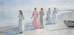 Seaside Promenade - Micheal Peter Ancher (1896) #art