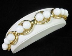Vintage Retro White Round Lucite Bead Gold Tone by MemawsTopDrawer