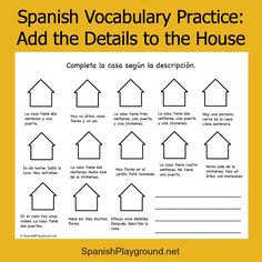 Printable Spanish activity to practice Spanish vocabulary. Great ideas for Spanish class or for kids learning Spanish at home. Can be used to practice Spanish reading skills, Spanish speaking skills and Spanish listening skills. #Teaching Spanish #Spanish printables http://spanishplayground.net/spanish-vocabulary-practice-draw-details/