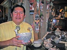 Laguna Pueblo pottery artist, Michael Kanteena, who specialize in reproducing vessels in the tradition of old potters.