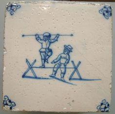 Dutch - Antique 18th Century genuine Dutch Delft Tile