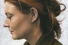 Paintings by artist Steve Caldwell. Steve Caldwell's Website via: artnau Oil Portrait, Female Portrait, Female Art, Portrait Paintings, Female Head, Oil Paintings, Face Profile, Profile Woman, Hyper Realistic Paintings