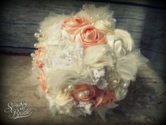 Nikoletta's set Vintage Rose Bridal Bouquet  www.somethingoldbride.com