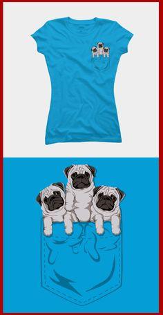 Cute Pugs in My Pocket T Shirt - Adorable tee shirt. Miniature pugs! <3