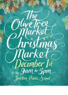 The Olive Tree Market Christmas Market Poster - intertwined text