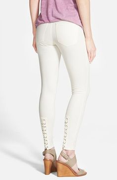 Hue Lace-Up Denim Leggings available at #Nordstrom