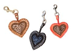 Pearls and sequins hand embroidered leather Heart Key holder by Pascale Théard