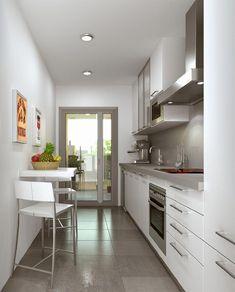 √ Scandinavian Kitchen Design For Your Lovely Home - Boxer JAM Kitchen Room Design, Kitchen Cabinet Design, Home Decor Kitchen, Kitchen Interior, Narrow Kitchen, Modern Kitchen Cabinets, Küchen In U Form, Scandinavian Kitchen, Küchen Design