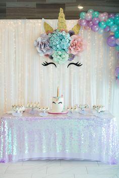 Glam Unicorn Birthday Party Unicorn Dessert Table from a Pastel Glam Unicorn Birthday Party on Kara's Party Ideas Dessert Table Birthday, Birthday Party Desserts, Birthday Party Tables, 1st Birthday Parties, Birthday Party Decorations, Dessert Tables, Birthday Games, Birthday Ideas, Rainbow First Birthday