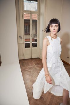 Antonio Berardi | Resort 2017 collection | White dress, white buttons