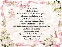 sweet mother-in-law poems with pictures | Mother in Law Pink Ribbon Personalized Poem Print