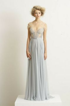 J. Mendel Spring 2010 RTW Crystal Blue Hand Pleated Silk Mousseline Gown
