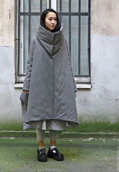Купить Пальто-пуховик Типи с высоким воротником. - серый, однотонный, пальто, пуховик, реглан, воротник