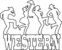 """Monoline vector silhouette of people dancing on a banner saying """"Western"""", EPS 8, no white objects"""