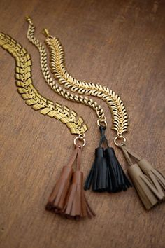 tassel bracelets | 2 bandits Love Bracelets, Jewelry Bracelets, Jewelery, Chain Jewelry, Jewelry Box, Gold Jewelry, Tassel Bracelet, Statement Jewelry, Fashion Accessories