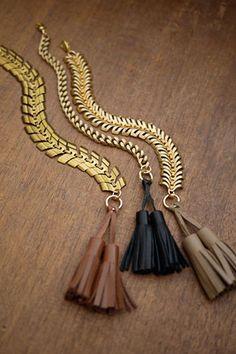 The 2 Bandits Curb Chain Tassel Bracelet, $58