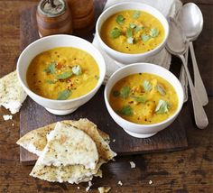 Spiced Butternut Squash, Lentil, and Coconut soup.  1 squash, 200g carrots, tumeric, coriander, 100g lentils, 700ml stock, 1 can red-fat coconut milk. Sautee veg 1-2 mins, add spice for 1 min, add lentils and liquids for 15-18 mins.  Blend.