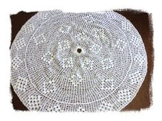 #Handmade Lace #Crochet #Christmas Tree Skirt 35 inches Round Ecru Beige #Vintage #homedec