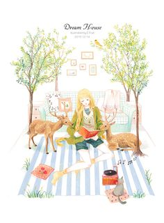 DREAM HOUSE-E.Pcat_E.Pcat,少女,褚迪,鹿,看书,小清新_涂鸦王国插画