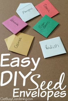 Store and share seeds from your garden in these incredibly cute, easy-to-make seed envelopes. I show you step-by-step how to make these Easy DIY Seed Envelopes here | GetBusyGardening.com