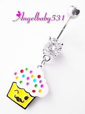 Adorable Cupcake with Mustache Dangle Belly Ring Bar Navel Ring SO CUTE!! 7.99