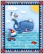 Cotton Quilt Fabric A Whale Of A Time Kids Nautical Sailboat Fish Panel Nursery Fabric, Baby Fabric, Cotton Quilting Fabric, Cotton Quilts, Quilt In A Day, Cute Whales, Nautical Stripes, Time Kids, Panel Quilts