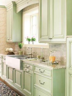 [ Green Kitchen Design New Ideas Sage Cabinets Brown Decoration Light ] - Best Free Home Design Idea & Inspiration Green Kitchen Cabinets, Kitchen Redo, New Kitchen, Vintage Kitchen, Kitchen Dining, Mint Kitchen, Awesome Kitchen, Pastel Kitchen, Kitchen Windows