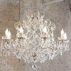 Beautiful Large 8 Light French Cream Vintage Shabby Crystal Raindrop Chandelier | eBay