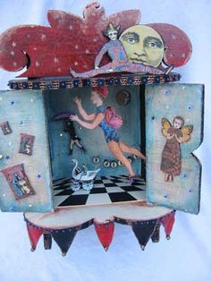 Toy Theater created by Catherine Moore working with stamps from Character Constructions Theater of Dreams collection Paper Art, Paper Crafts, Toy Theatre, Box Art, Art Boxes, Diy Ombre, Cardboard Art, Vintage Tags, Creative Play