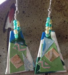 White, blue, green polymer clay and paper handmade earrings, bohemian earrings, sterling silver