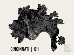Cincinnati Art Print by Mr City Printing. Save up to 40% for a limited time at Art.com.