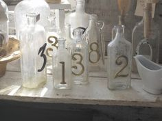 bottles with house numbers