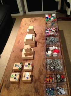 All you need are some wood blocks (or boxes), and some 'robot parts' to put on them.