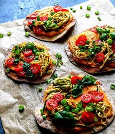 Crispy turmeric chickpea flatbread with smoked paprika hummus, zoodles marinated in tomato pesto, fresh tomatoes, spring onions and basil. - Chickpeas is similar to soybean seed. Dry chickpeas contains 364 calories and boiled 164 per 100 grams.