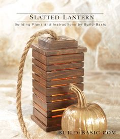 """Add a soft glow to your space this season with this simple DIY slatted lantern complete with a rustic rope """"wick"""". Building Plans by former TOH staffer Jenn Stimpson of @BuildBasic www.build-basic.com"""