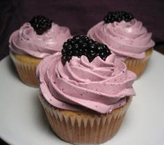 Possibly my favorite cake: Brown Sugar-Hazelnut Cupcakes with Blackberry Buttercream Frosting  (it was one of the flavors of my wedding cake!)