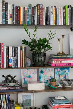 Bookshelf styling - water colour tiles