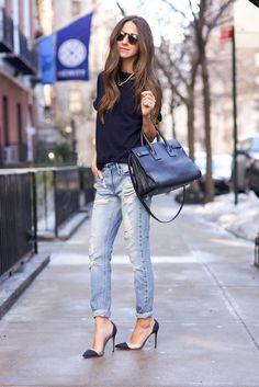 Jeans: Black Orchid Denim | Sweater: Iris & Ink | Shoes: Gianvito Rossi | Bag: Saint Laurent