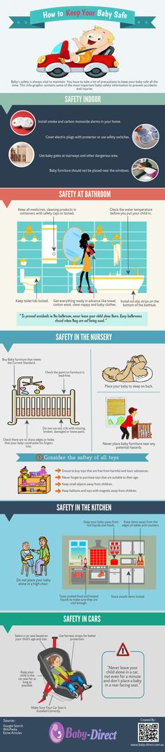 How to keep your baby safe - Baby's safety is always vital to maintain. You have to take a lot of precautions to keep your baby safe all the time. This info-graphic contains some of the most important baby safety information to prevent accidents and injuries.
