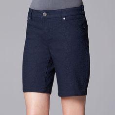 Women's Simply Vera Vera Wang Jacquard Bermuda Shorts, Size: 12, Blue (Navy)