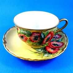 Signed-Poppy-Bavaria-Hutschenreuthers-Selb-Tea-Cup-and-Saucer-Set