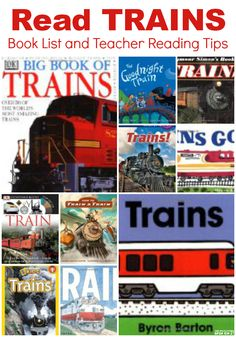 READ Trains!  The best collection of fiction and non-fiction books about trains and teacher / parent tips for reading.  Math, science, art, activity suggestions too!