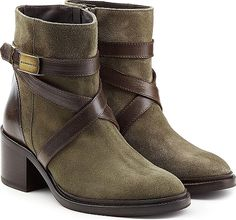 c78f72aaffa Dsquared2 Suede Ankle Boots with Contrast Leather Straps